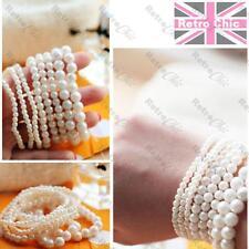 7pcs CREAM FAUX PEARL BRACELETS stretch pearly beads LAYERED BANGLE SET boho