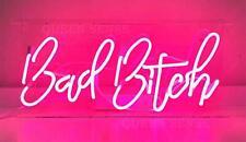 "New Bad Bitch Neon Light Sign 14"" Lamp Beer Pub Acrylic Real Glass Gift Handmade"