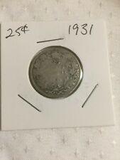 Filler 1931 Canada 25 cent, Silver Quarter.