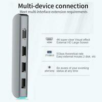 6in1 Universal USB 3.1 Type-C to HDMI 4K HD Docking Station with Breathing Light