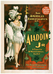 "Vintage Classic Art Print Theater Poster ""Aladdin Jr..."" Chicago Opera ca.1894"
