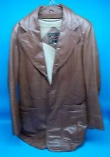 Casablanca Mens Vintage 1970s 80s Leather Car Coat Jacket Fight Club Lined