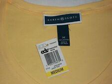 Macys Karen Scott Womans Tellow Short Sleeve V-Neck Tee Top T-Shirt Medium