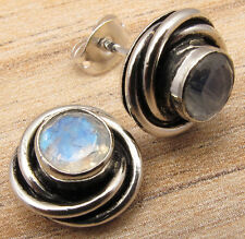 925 Silver Overlay Real RAINBOW MOONSTONE SPIRAL KNOT Studs Earrings New Style