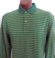 NWT Tommy Hilfiger Long Sleeve Polo Shirt Green/Yellow Striped Sz S XL XXL