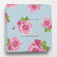 Blue Shabby Chic Light Switch Sticker to fit a Crabtree 4172 2-Gang 2-Way Double