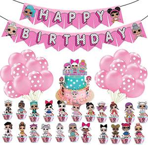 LOL Dolls Birthday Party Supplies, LOL Surprise Dolls Birthday Decorations Happy