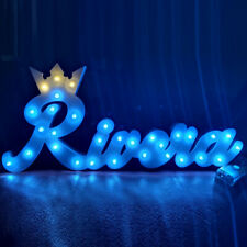 Custom LED Name with princess crown Kids Personalized Wooden Name Signs Children