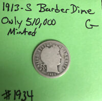 1913-S 10c Barber / Liberty Head Dime Good