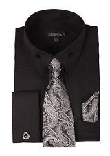 Men's French Cuff Jacquard Dress Shirt w/ Tie & Hanky Set + Cufflinks #619 Black