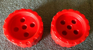 Plastic Tinker Toys Lot Of 2  RED WHEELS Large Tinkertoy Replacement Parts