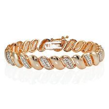 Genuine Natural Diamond Accent San Marco Tennis Bracelet in Rose Gold Tone
