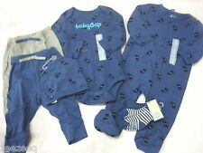 BABY GAP Boys Infant 7pc Romper Bodysuit Cap Socks Pants Dog Print Sz 3-6m