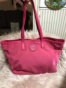Authentic Tory Burch Marion Nylon Tote in Hot Pink