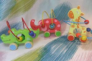 Kaper Kidz Wooden Animal Bead Rollercoster/Maze with Wheels!
