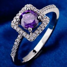 Ring 9ct White Gold Filled Amethyst & Diamonds Cluster size L Summer Xmas Gift