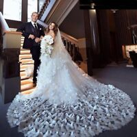 White/Ivory Wedding Veils Butterfly Applique Cathedral Length Bridal Veil+Comb