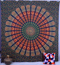 Indian Cotton Queen Wall Hanging Bedding Bedcover Mandala Green Tapestry Decor