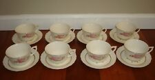 8 Canonsburg China Cup & Saucer Set Vintage Retired Floral Rose Bouquet