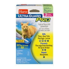 Hartz UltraGuard PRO FLEA & TICK DROPS x3 Monthly Treatments Cats and Kittens