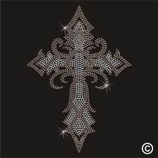 Rhinestone GOTHIC CROSS Diamante Crystal Motif Transfer Iron On Hotfix Applique
