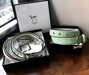 "Retired NIB Coach Green Signature Ivory Leather LG 17""-21"" Dog Collar Leash Set"