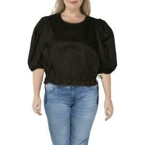 NEW ❤Danielle Bernstein❤ Black Side Tie Puff Sleeve Top Shirt Plus 3X FITS 22-24