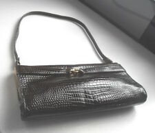 Vintage JANE SHILTON Brown Genuine Leather Croc Print Handbag One Strap Clutch