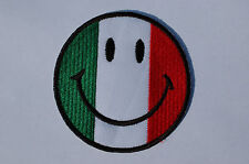Italian Flag Smiley Iron/Sew On Patch Biker - Bags - Jackets  No249