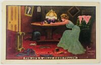 Vintage Postcard For He's a Jolly Good Fellow Woman Drinking Room Trashed 1912