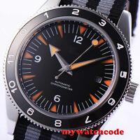 41mm CORGUET black dial miyota Automatic mens watch ceramic bezel sapphire glass