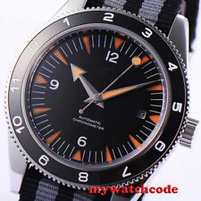 41mm CORGUET black dial miyota Automatic mens watch ceramic bezel sapphire glass