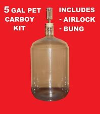 PET CARBOY KIT 5 GAL w/AIRLOCK & BUNG FOR SECONDARY FERMENTATION  OF BEER & WINE
