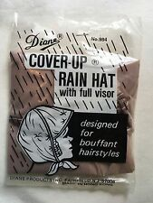 Diane Plastic Cover-Up Rain Hat Bonnet Full Visor For Bouffant Hairstyles Brown