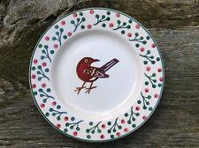 "EMMA BRIDGEWATER rare Christmas . Robin & Berries . 8-1/2"" PLATE . Mark Hearld"
