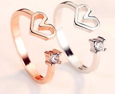 Corazón De Cristal Ajustable Chapado en Plata Esterlina 925 Anillo de mujer señoras de la joyería