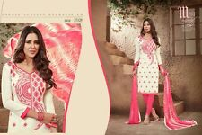 DESIGNER CHURIDAR SALWAR KAMEEZ SUIT COTTON DRESS MATERIAL Chanderi Work AKIRA10