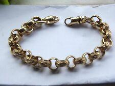 "Gents Mens Solid 9ct Yellow Gold Patterned 8.5"" Belcher Bracelet approx 28grm"