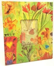 Green Wooden Floral Flower NEW Picture Frame Holds 3.75 X 2.5  Photo Charpente