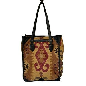 Isabella Fiore Large Beatrice Tapestry & Leather Tote Bag Aztec Leather Handbag