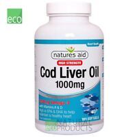 Natures Aid  Omega-3 Cod Liver Oil (High Strength) 1000mg 180 Softgels