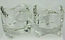 """Pair Of Crystal Clear Glass Votive Tealight Candle Holders Stackable  2.3"""" New"""