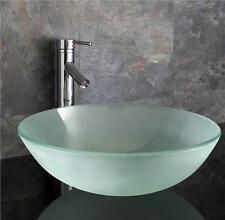 Countertop Bathroom Sink Cloakroom Basin 42cm Frosted Glass Round Basin Sink