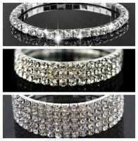 Sparkly bling diamante/rhinestone/crystal silver stretch bracelet