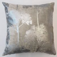 "METALLIC SILVER WOODLAND TREES PALE GREY  VELVET 20"" CUSHION COVER £9.99 EACH"