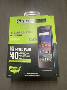 For Simple Mobile Only, ZTE Midnight Pro LTE 8GB Prepaid Smartphone, New Sealed