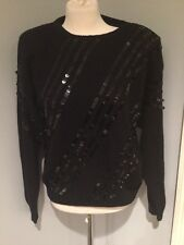 80's Vintage Nilani Black Silk & Angora Rabbit  Sequined Sweater Size Large