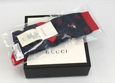 A Genuine Men's GUCCI Blue & Red GG Monogram Pattern 100% Cotton Socks ONE SIZE