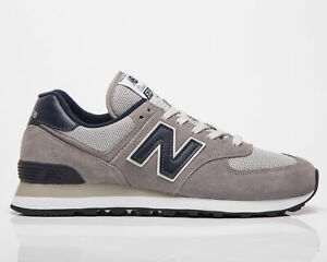 New Balance 574 Men's Grey Navy Low Casual Athletic Lifestyle Sneakers Shoes
