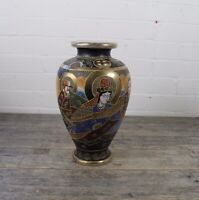 Large Japanese Hand Painted Satsuma Vase With Hand Painted Immortals Decoration.